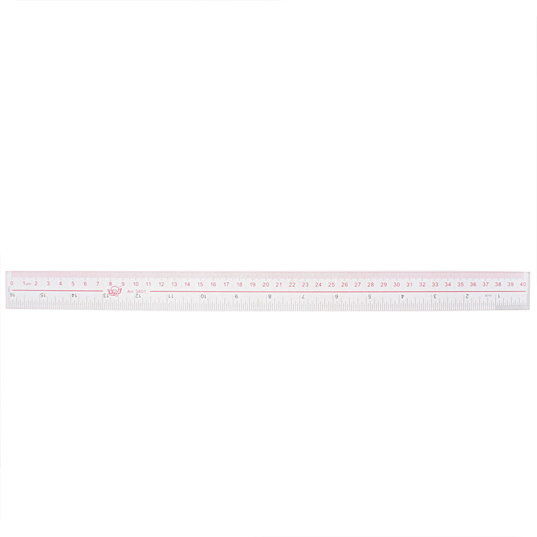 Clear Plastic Inch Metric 40cm Measure Range Straight Ruler Measuring Tool