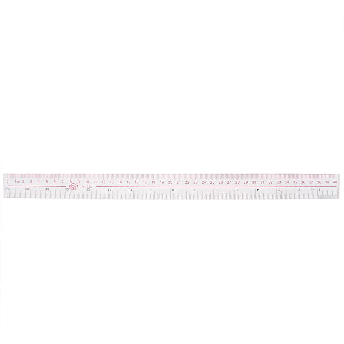 Clear Plastic Inch Metric 40cm Measure Range Straight Ruler Measuring Tool