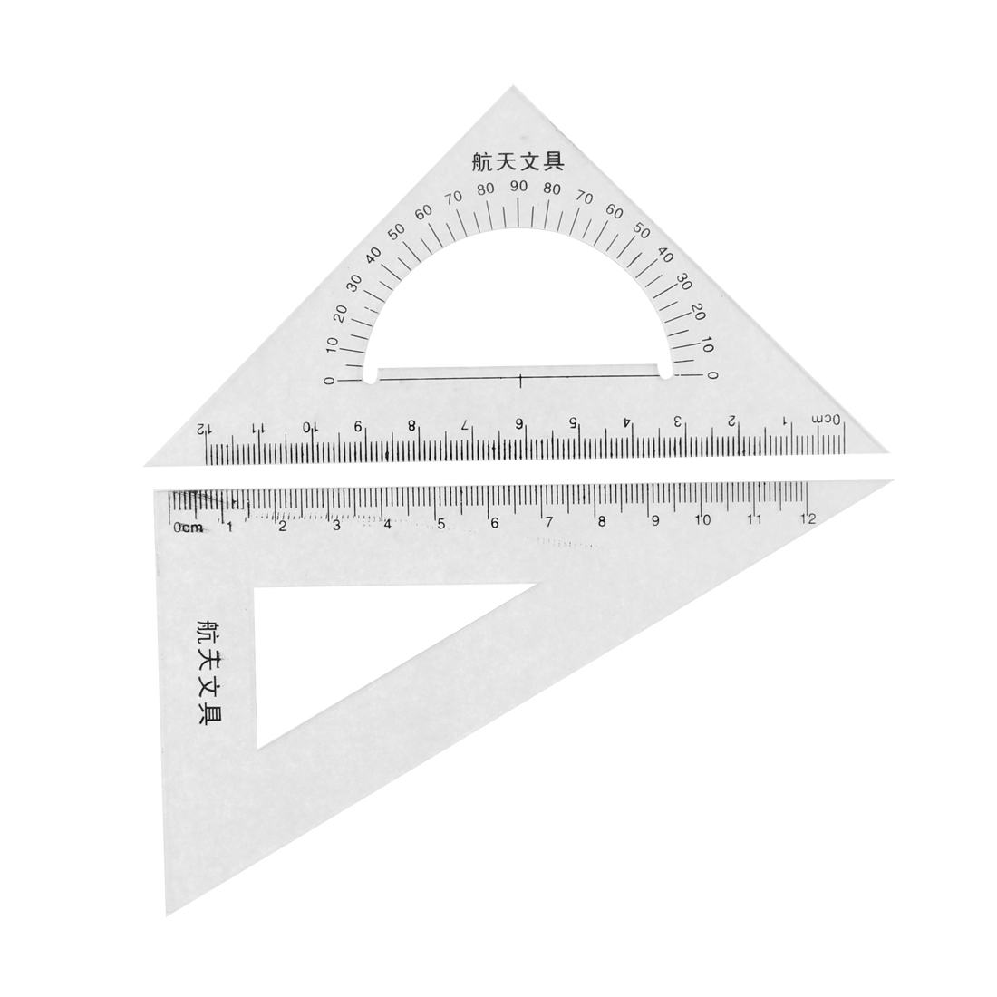 School Students Plastic Drawing Learning Triangle Ruler Protractor Clear 2 Pcs