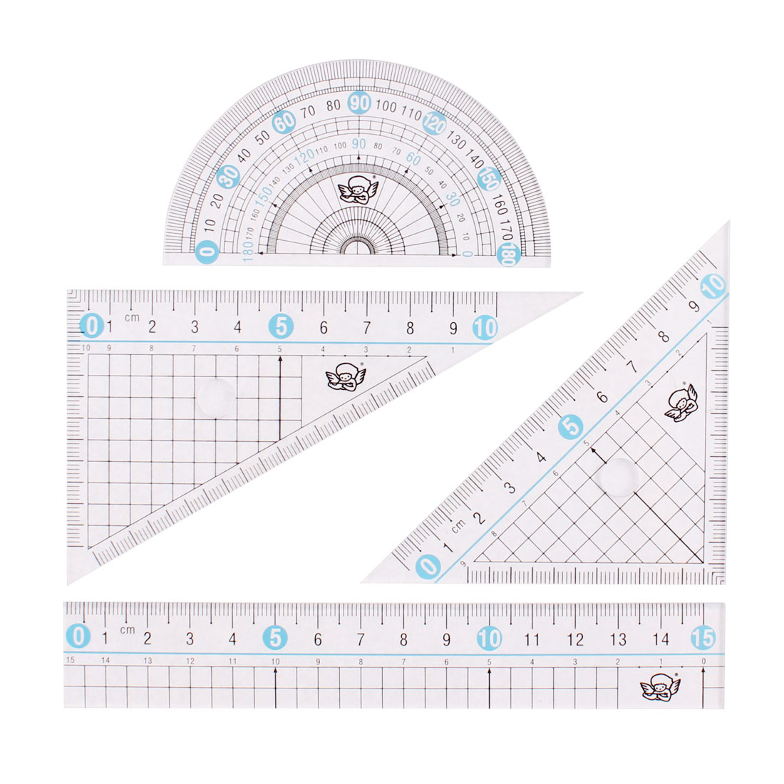 School Students Stationery Protractor Triangle Straight Rulers Set Clear 4 in 1