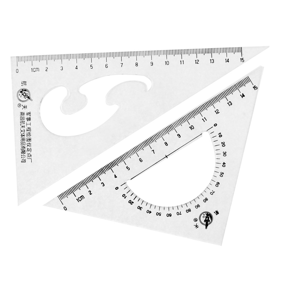 Office School Drafting Drawing Right Angle Triangle Ruler Combo Protractor 2 Pcs