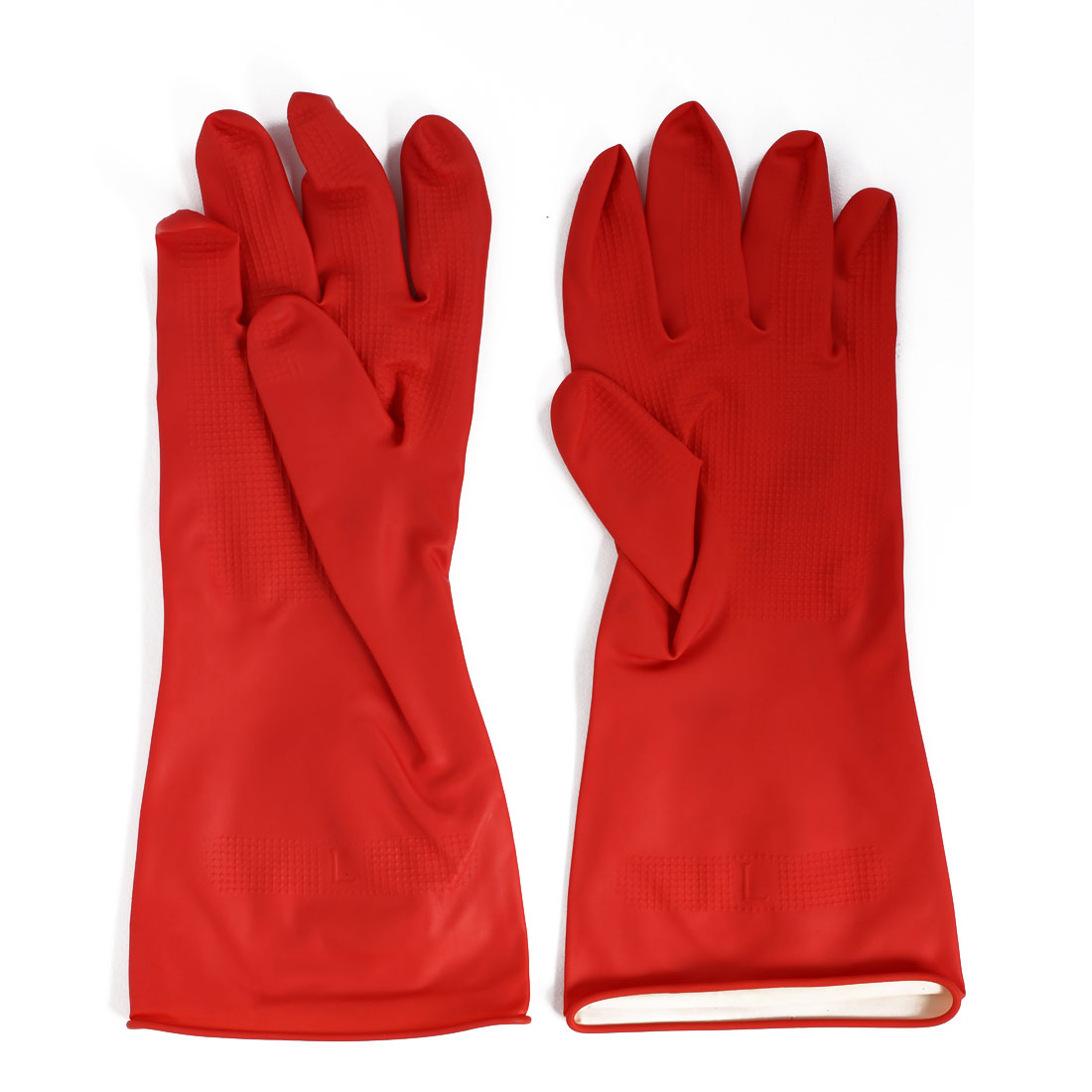 Factory Oil Resistant Waterproof Hand Protector Rubber Coated Gloves Red Pair