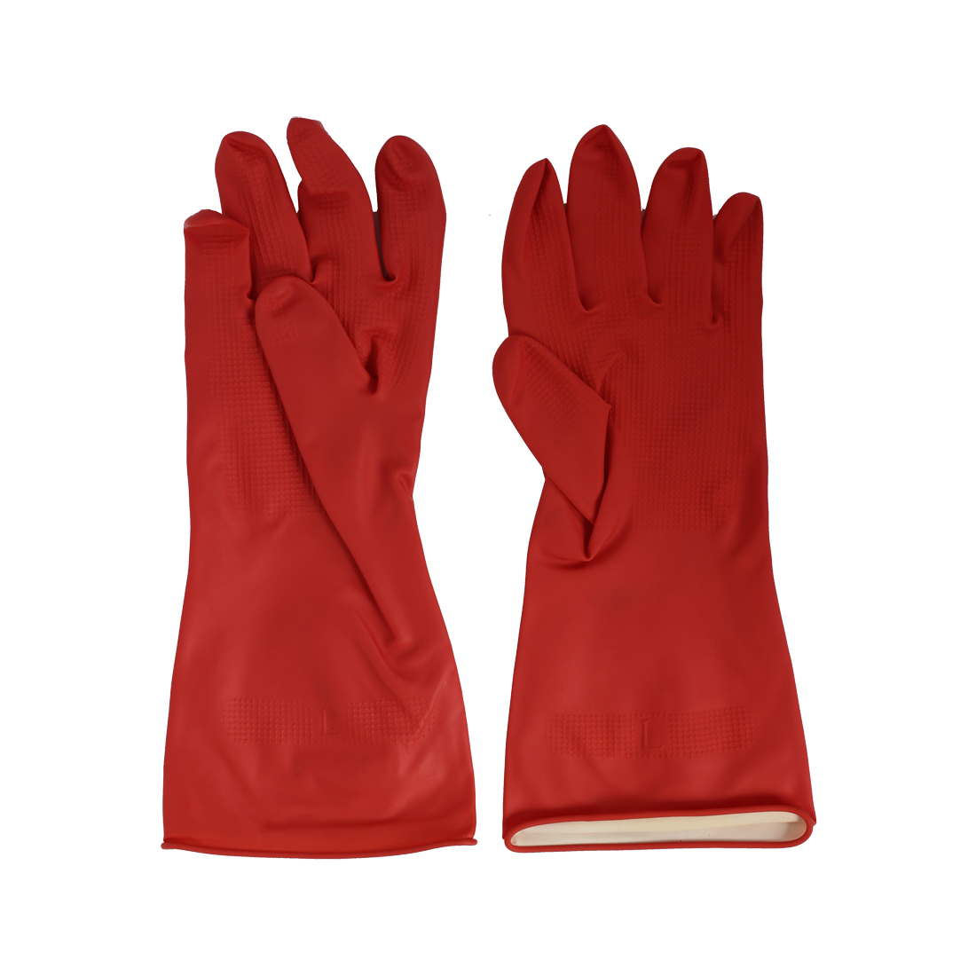 Industry Oil Resistant Waterproof Hand Protector Rubber Coated Gloves Red Pair