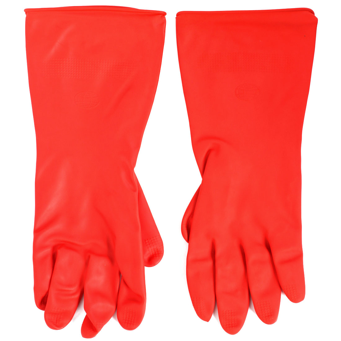 Factory Oil Resistant Waterproof Hand Protector Rubber Work Gloves Red Pair
