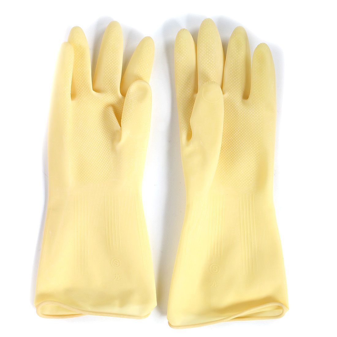 Industry Oil Resistant Waterproof Hand Protector Rubber Coated Gloves Beige Pair