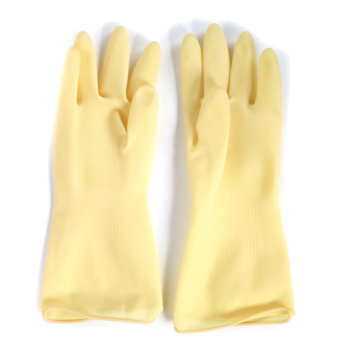 Factory Oil Resistant Waterproof Hand Protector Rubber Work Gloves Beige Pair
