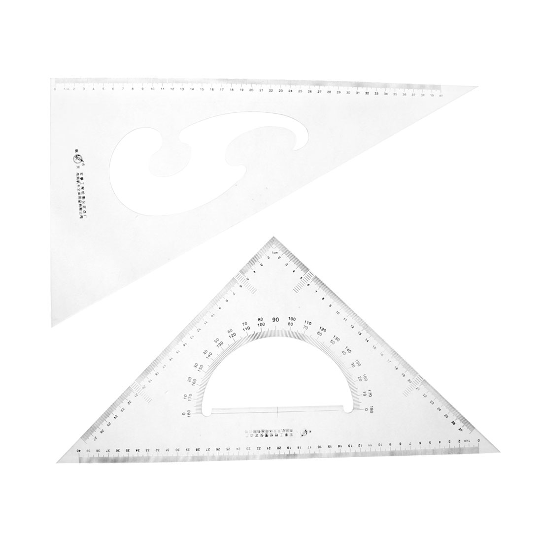 Student Stationery 30/60 45 Degree Triangle Rulers Protractor Measure Set 2 Pcs