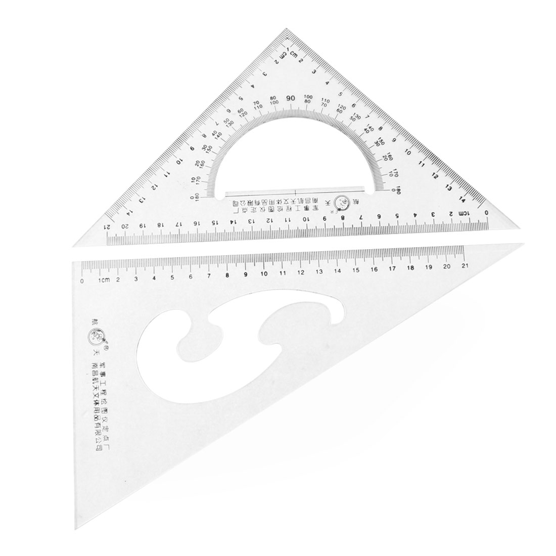 School Stationery 30/60 45 Degree Triangle Rulers Protractor Measure Tool 2 Pcs