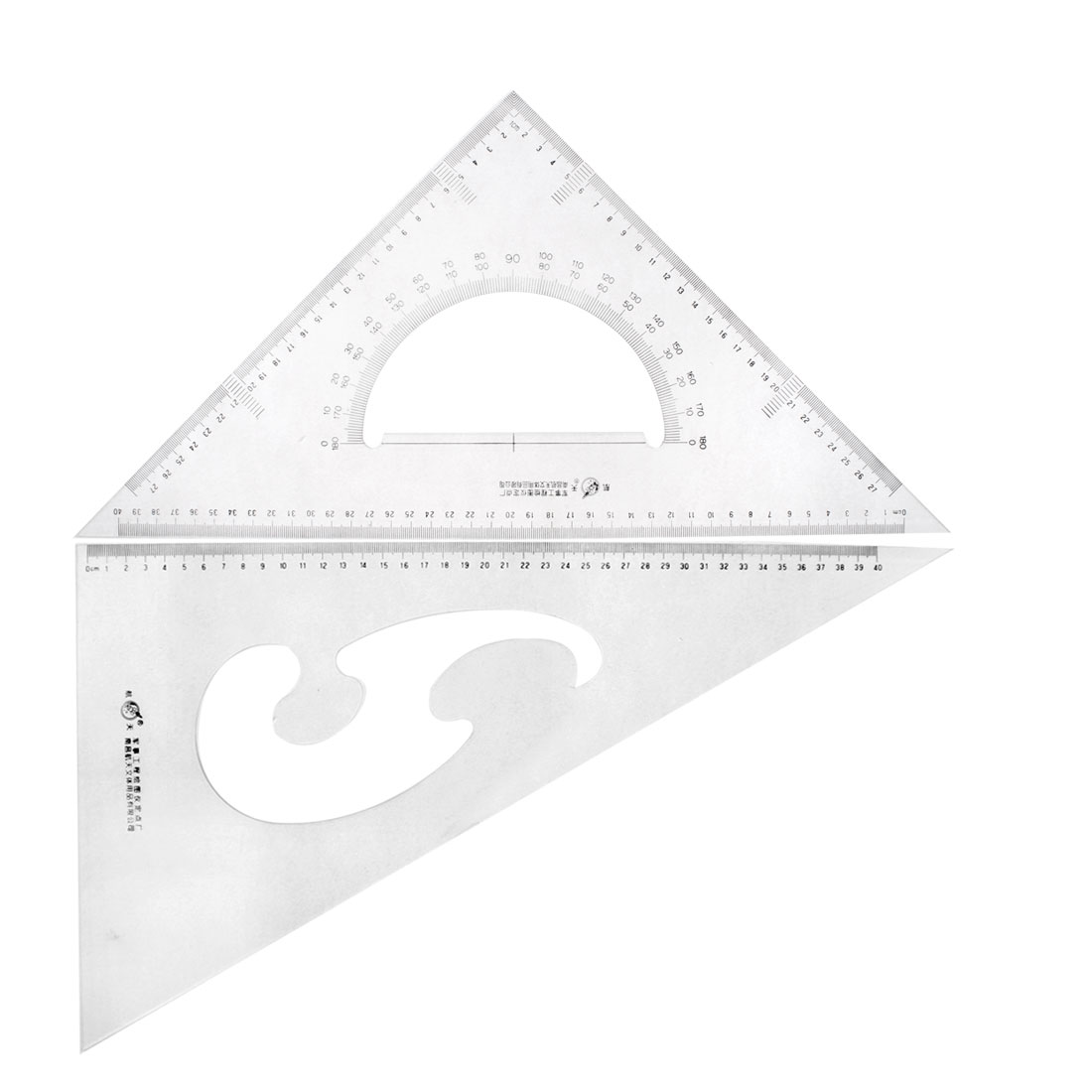 Student Stationery 30/60 45 Degree Triangle Rulers Protractor Drawing Set 2 Pcs