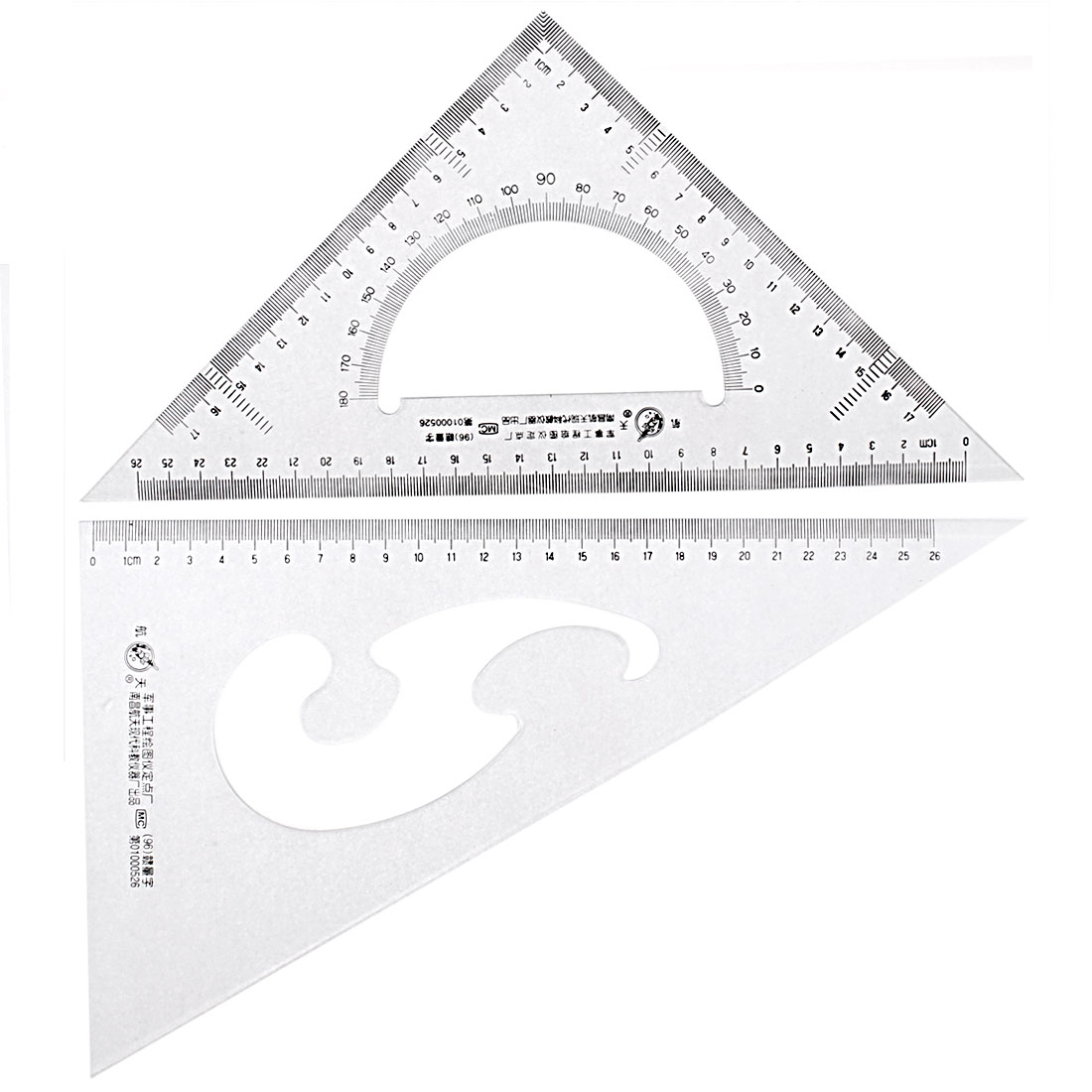 School Stationery 30/60 45 Degree Triangle Rulers Protractor Drawing Tool 2 Pcs