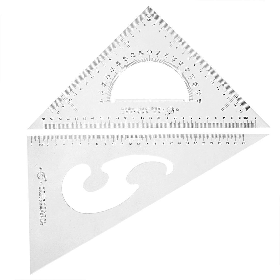 School Stationery 30/60 45 Degree Triangle Rulers Protractor Drawing Set 2 Pcs