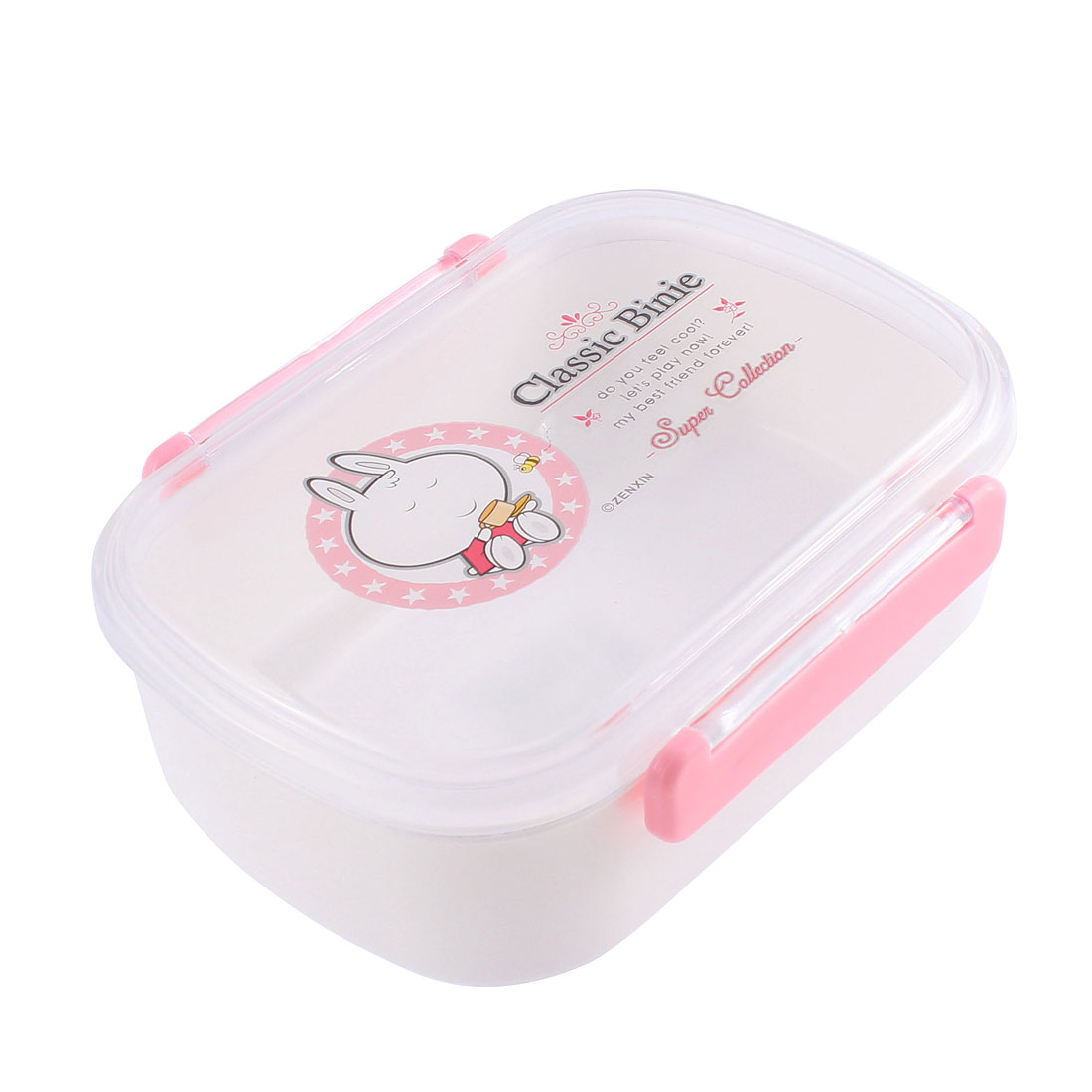 Home School Plastic Bento Food Lunch Box Case Storage Container w Spoon