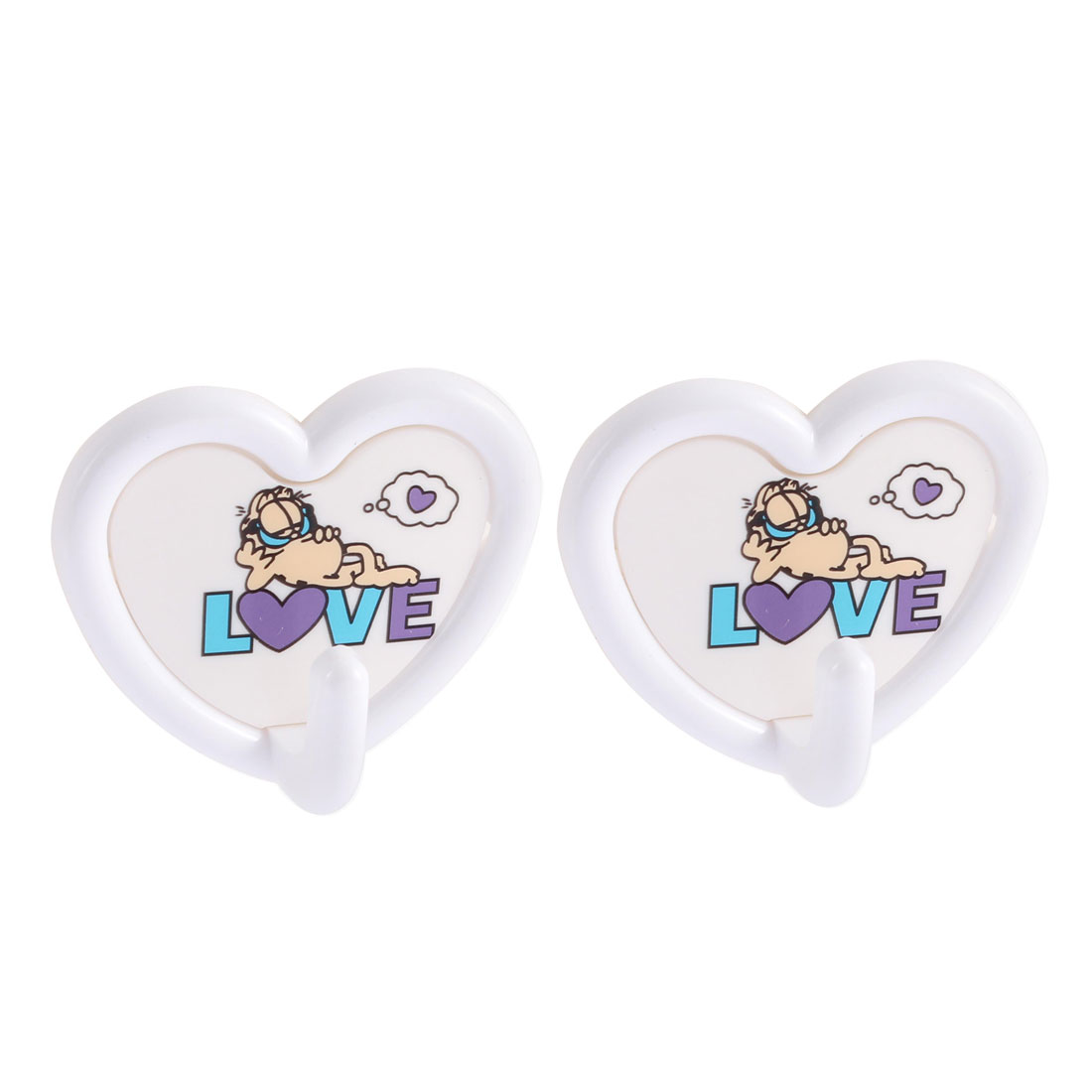 Door Wall Plastic Heart Design Self-adhesive Towel Key Hanger Holder Hook 2pcs