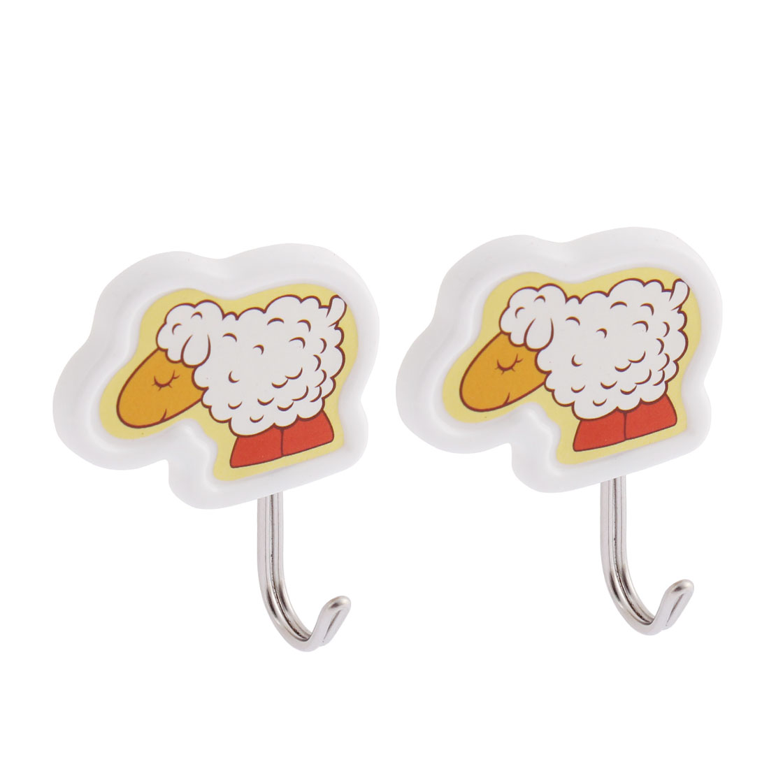 Family Door Wall Sheep Pattern Towel Bag Self-adhesive Hanger Holder Hook 2pcs
