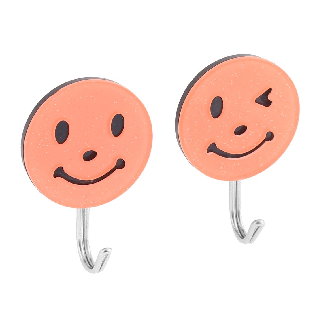 Household Self Adhesive Smile Face Style Cap Bag Hanger Holder Hook 2 Pcs