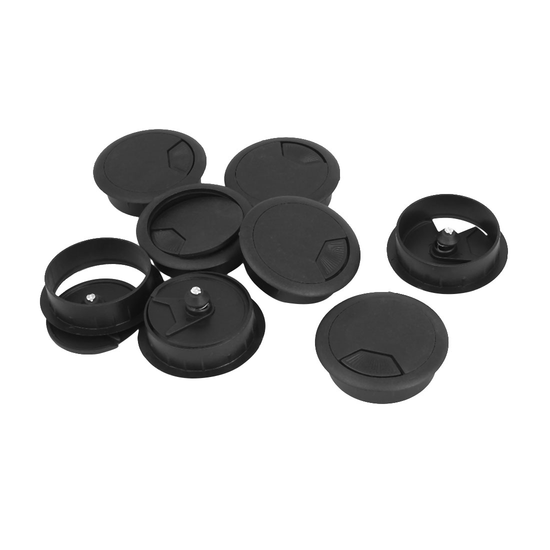 Computer Desk Table Plastic Grommet Wire Cable Hole Cover Cap Black 8Pcs