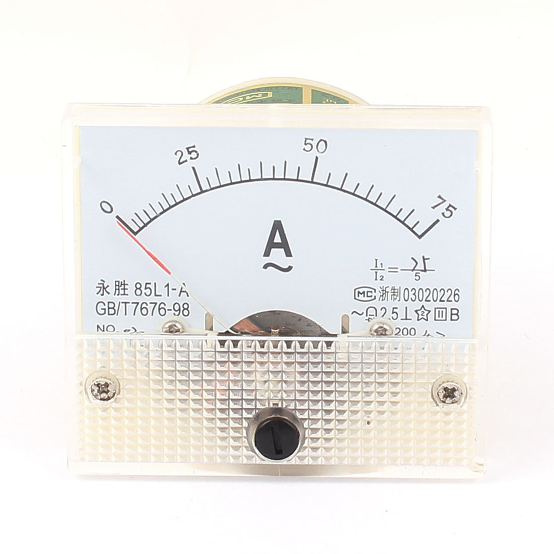 AC 0-75A Rectangle Panel Meter Gauge Current Analogue Analog Ammeter White