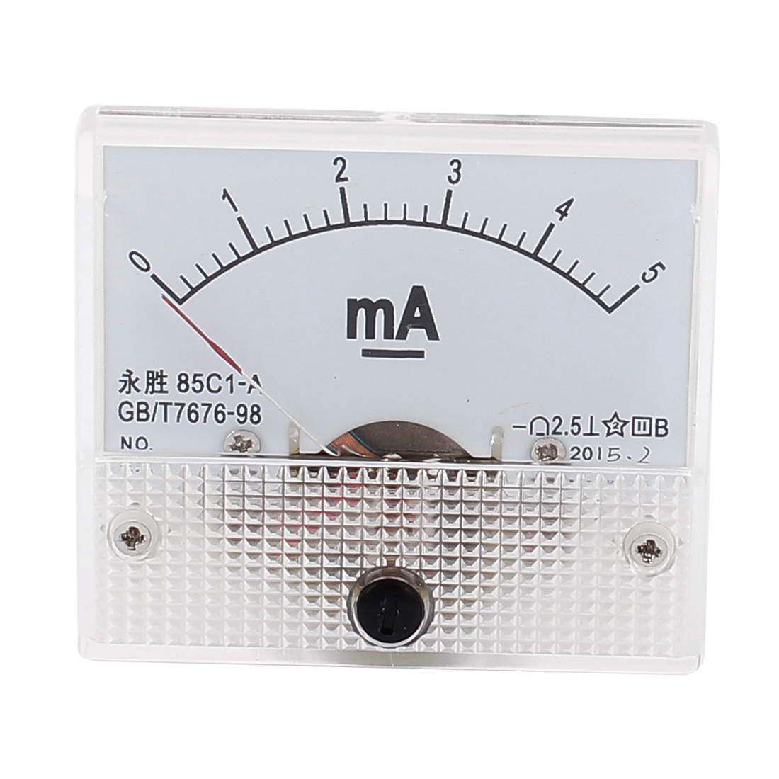 DC 0-5mA Rectangle Panel Meter Gauge Current Analogue Analog Ammeter White