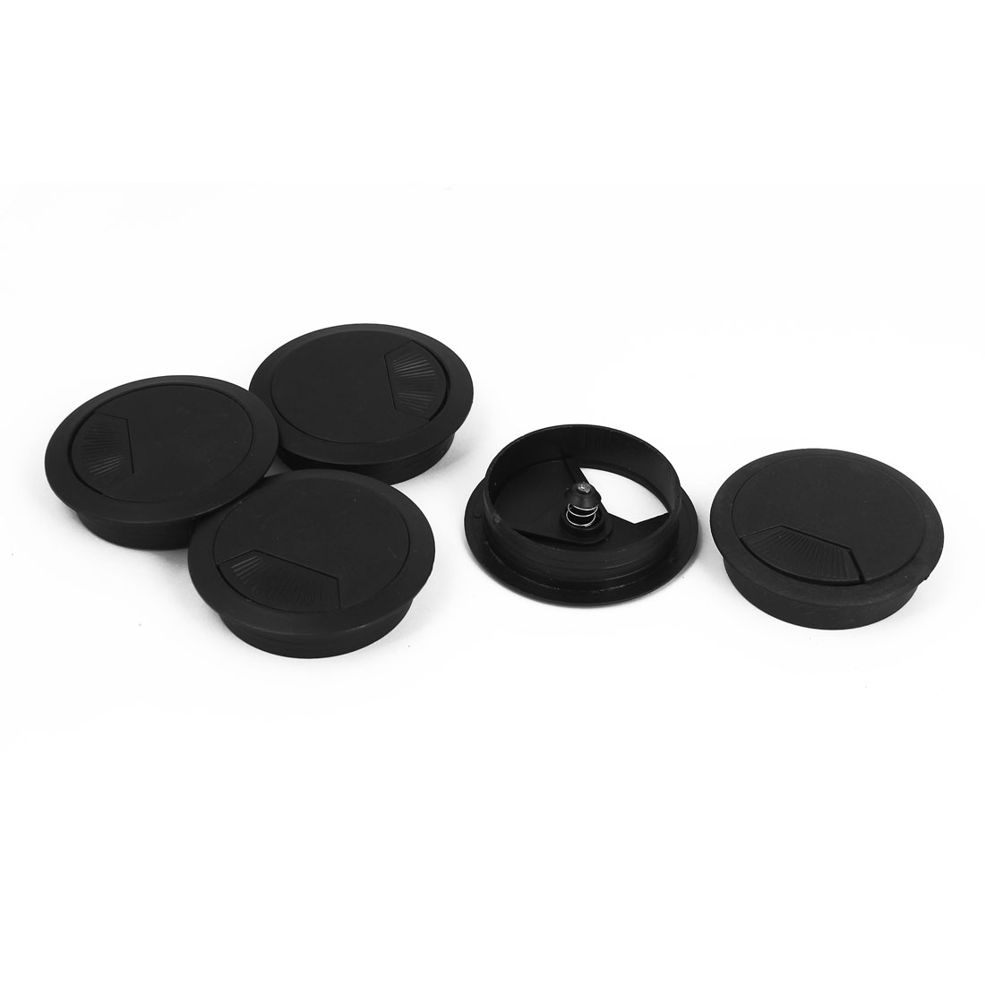 Computer Desk Table Plastic Grommet Wire Cable Hole Cover Cap Black 5Pcs