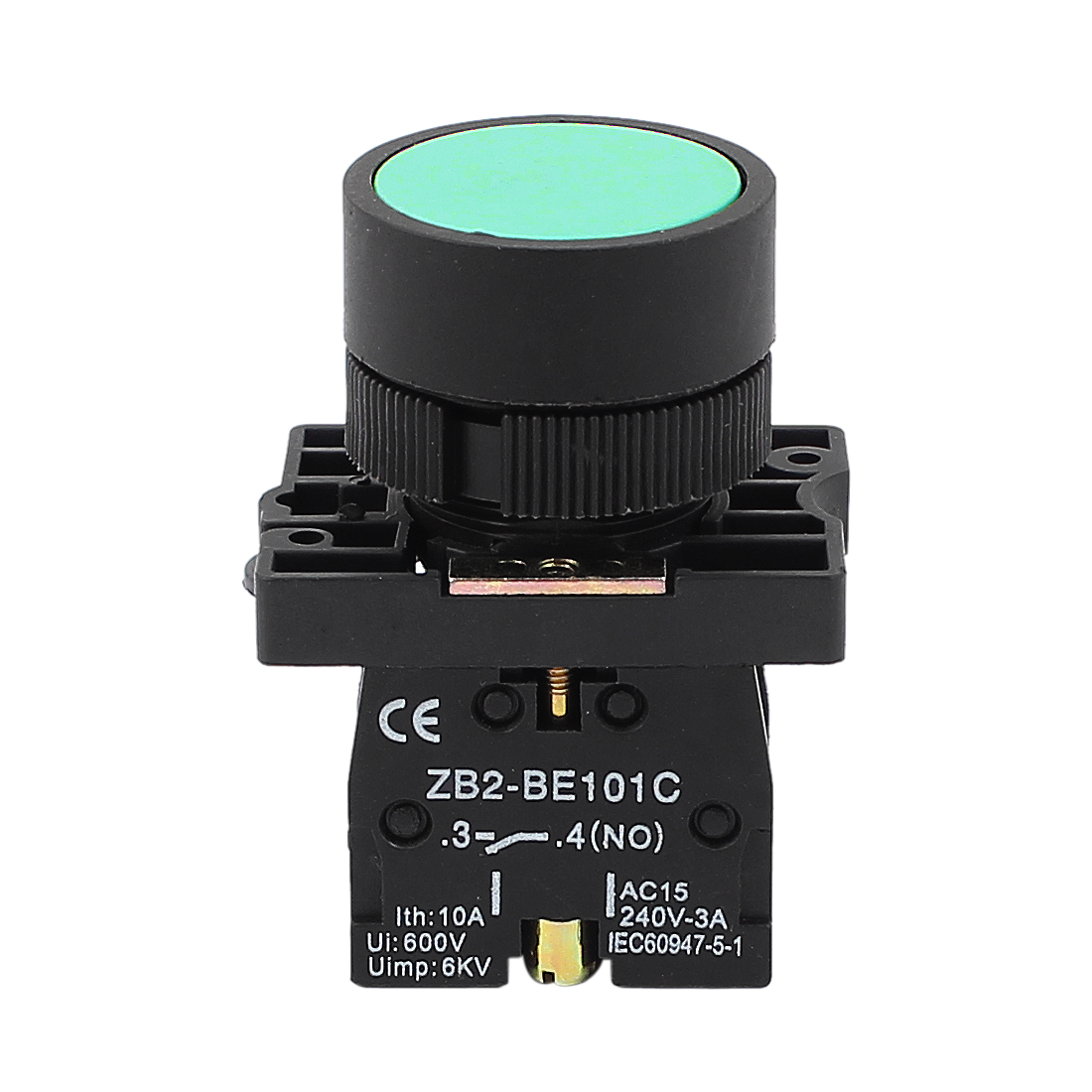 22mm Dia Panel Mount SPST Normally Open Momentary Push Button Switch Green