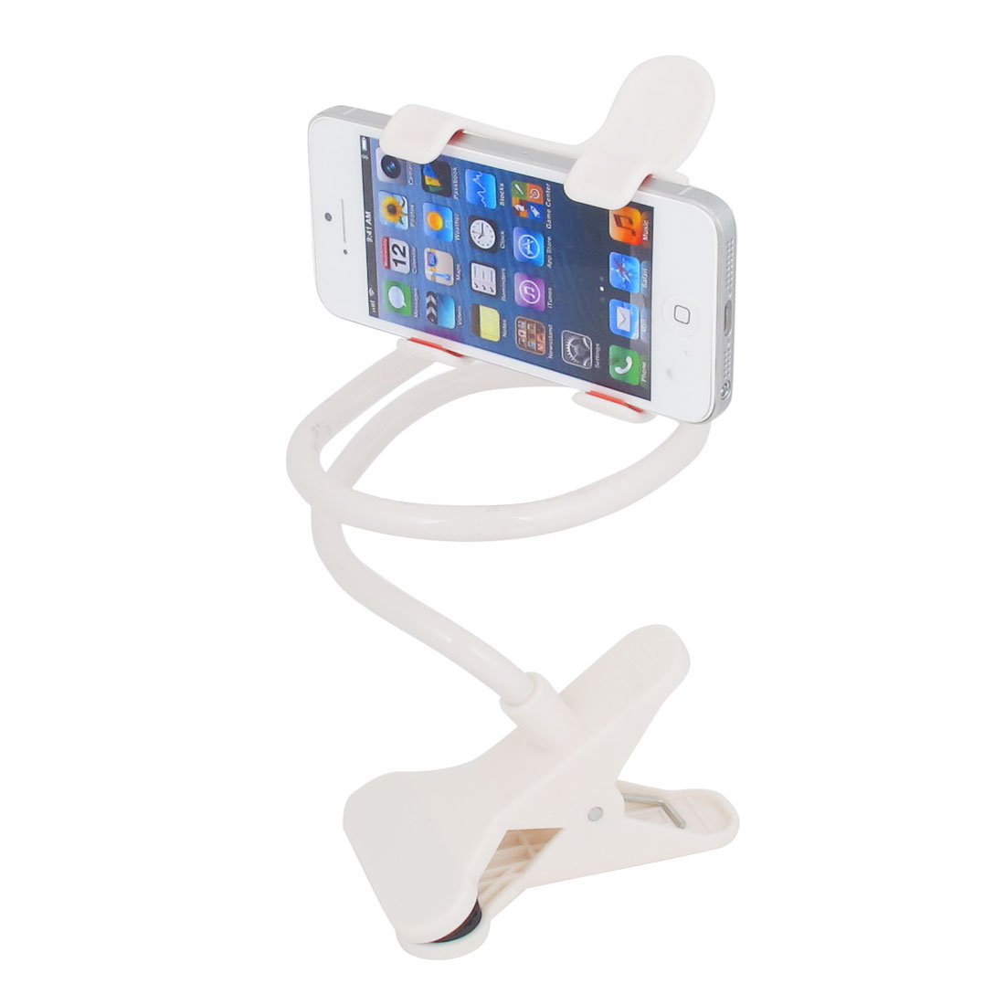 Flexible Long Arm Car Desktop Bed Mobile Phone Clip Holder Stand White