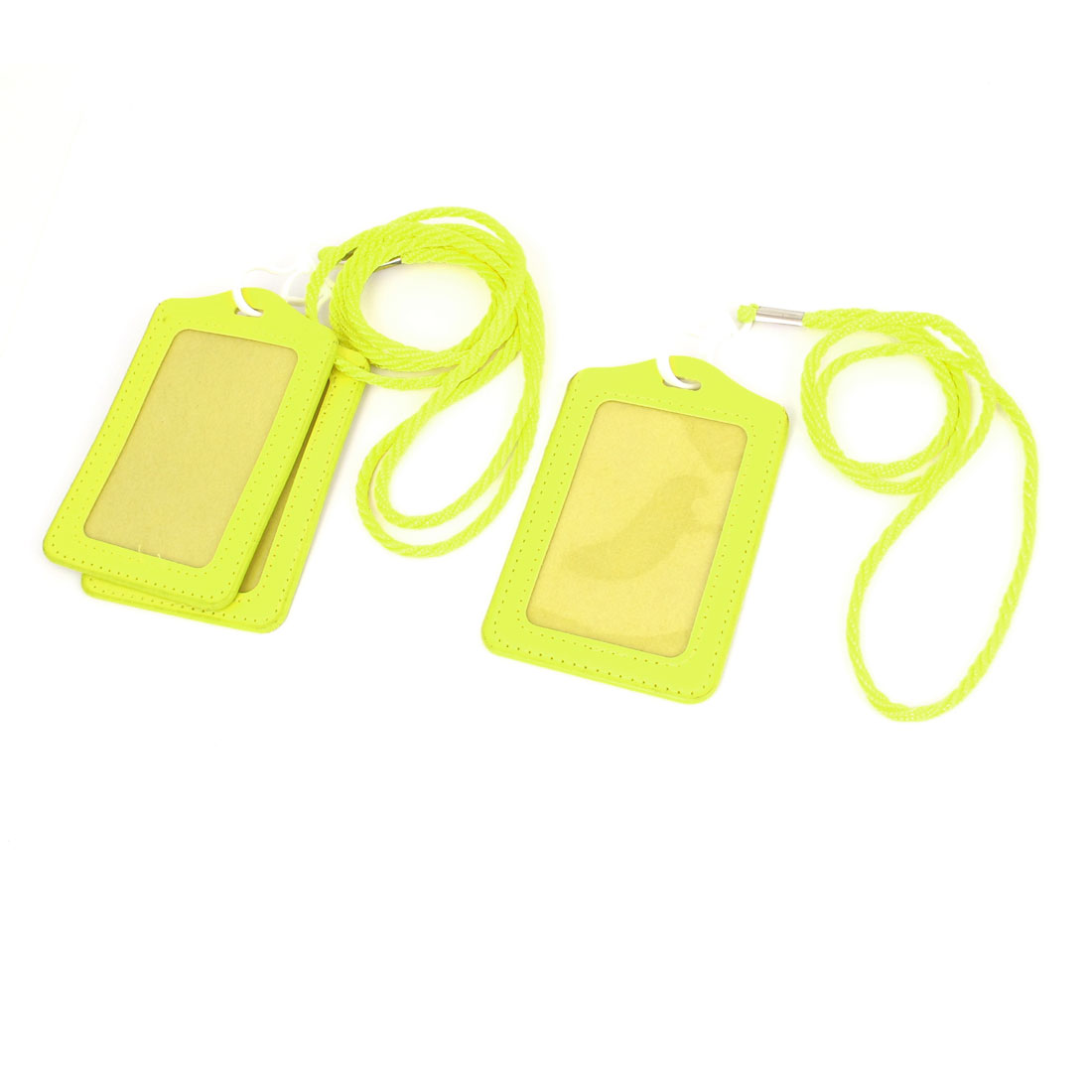 Office School Neck String Lanyard Vertical ID Card Badge Holder Yellow 3Pcs