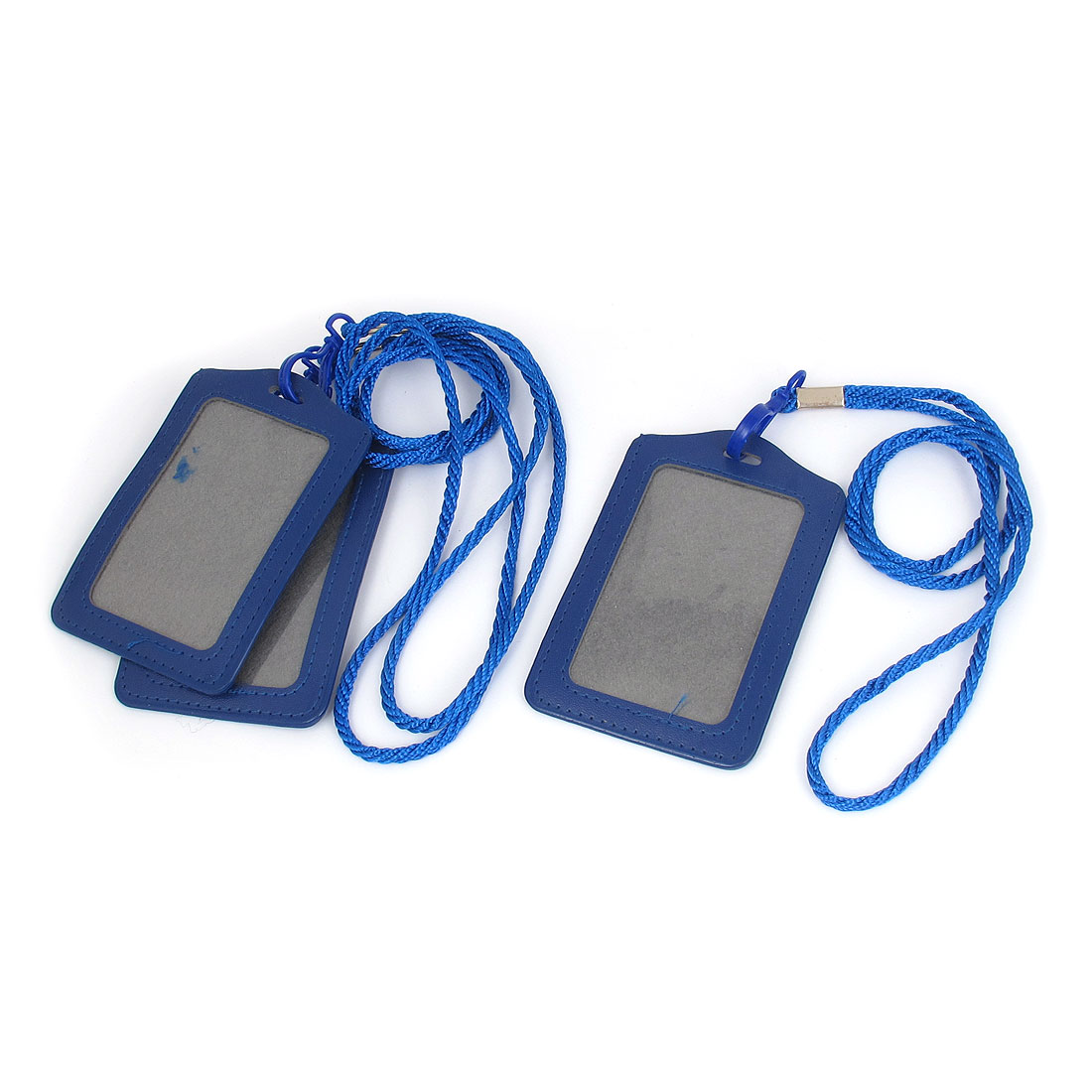 Office School Neck String Lanyard Vertical ID Card Badge Holder Blue 3Pcs