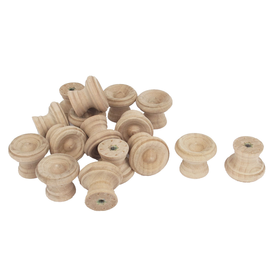 Wooden Round Shaped Cabinet Cupboard Door Drawer Pull Knob Handle 15Pcs