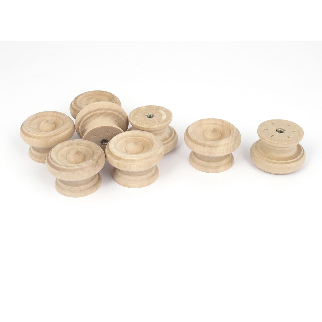Wooden Round Shaped Cabinet Cupboard Wardrobe Drawer Pull Knob Handle 8Pcs