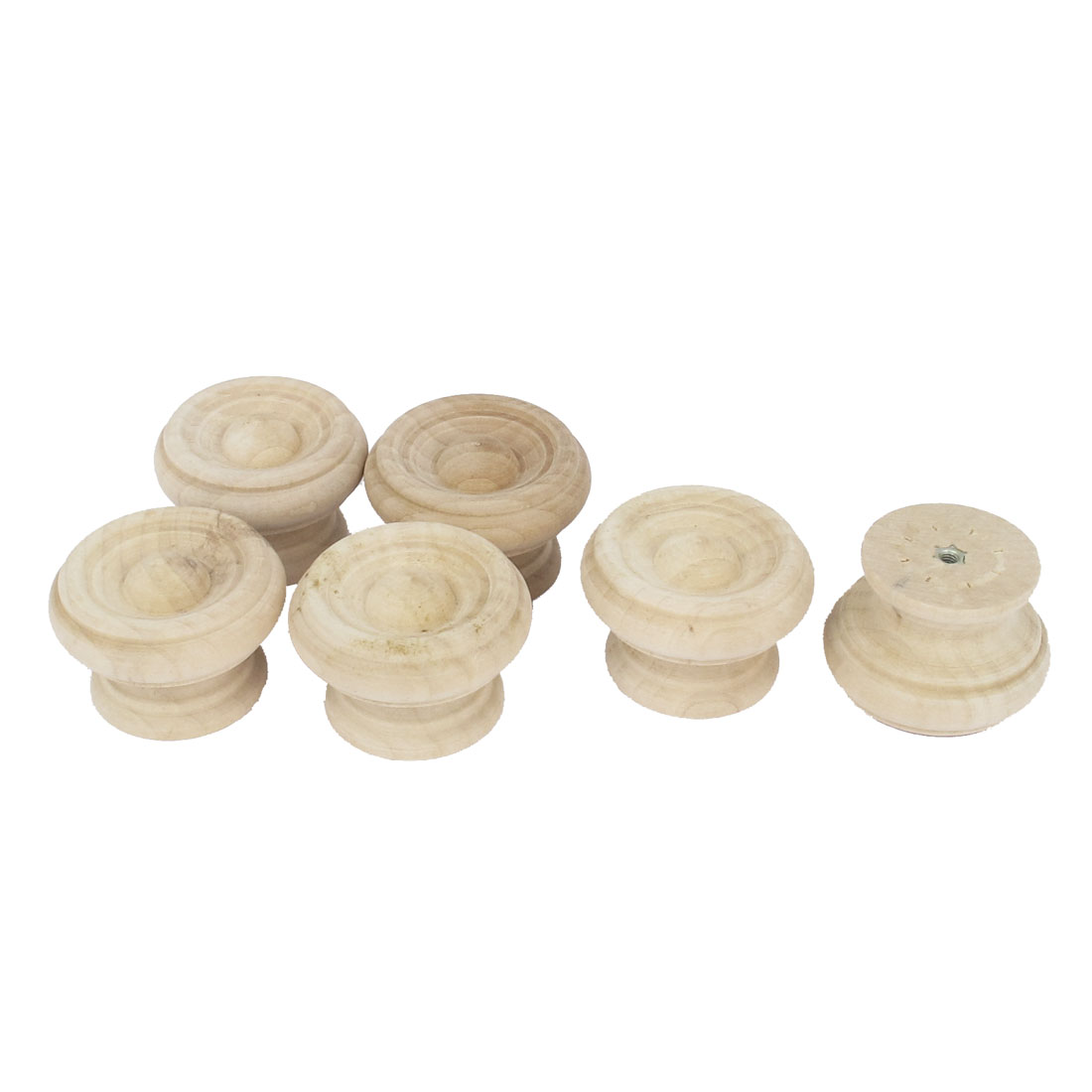 Wooden Round Shaped Cabinet Cupboard Closet Drawer Pull Knob Handle 6Pcs