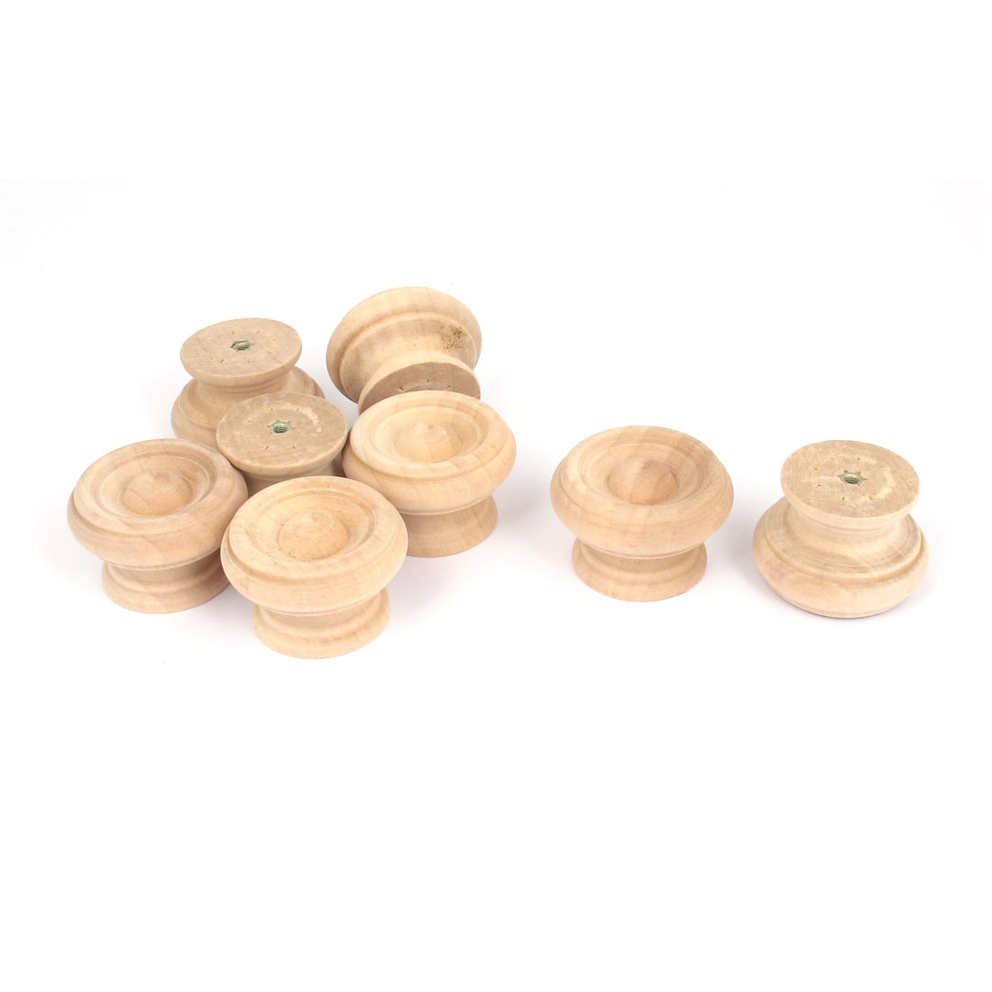 Wooden Round Shaped Cabinet Cupboard Closet Drawer Pull Knob Handle 8Pcs