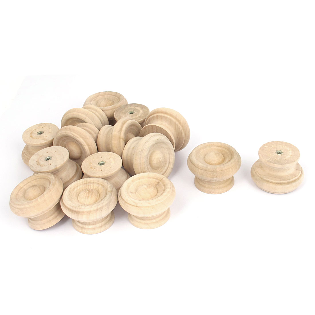 Wooden Round Shaped Cabinet Cupboard Closet Drawer Pull Knob Handle 15Pcs