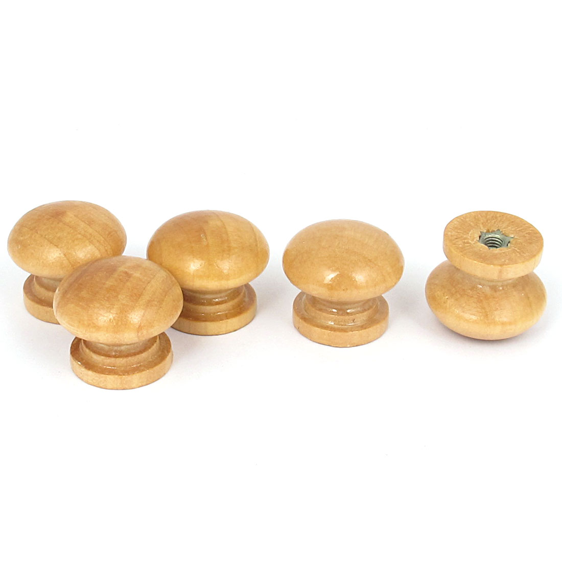 Wooden Round Shaped Home Cabinet Cupboard Drawer Pull Knob Handle Beige 5Pcs