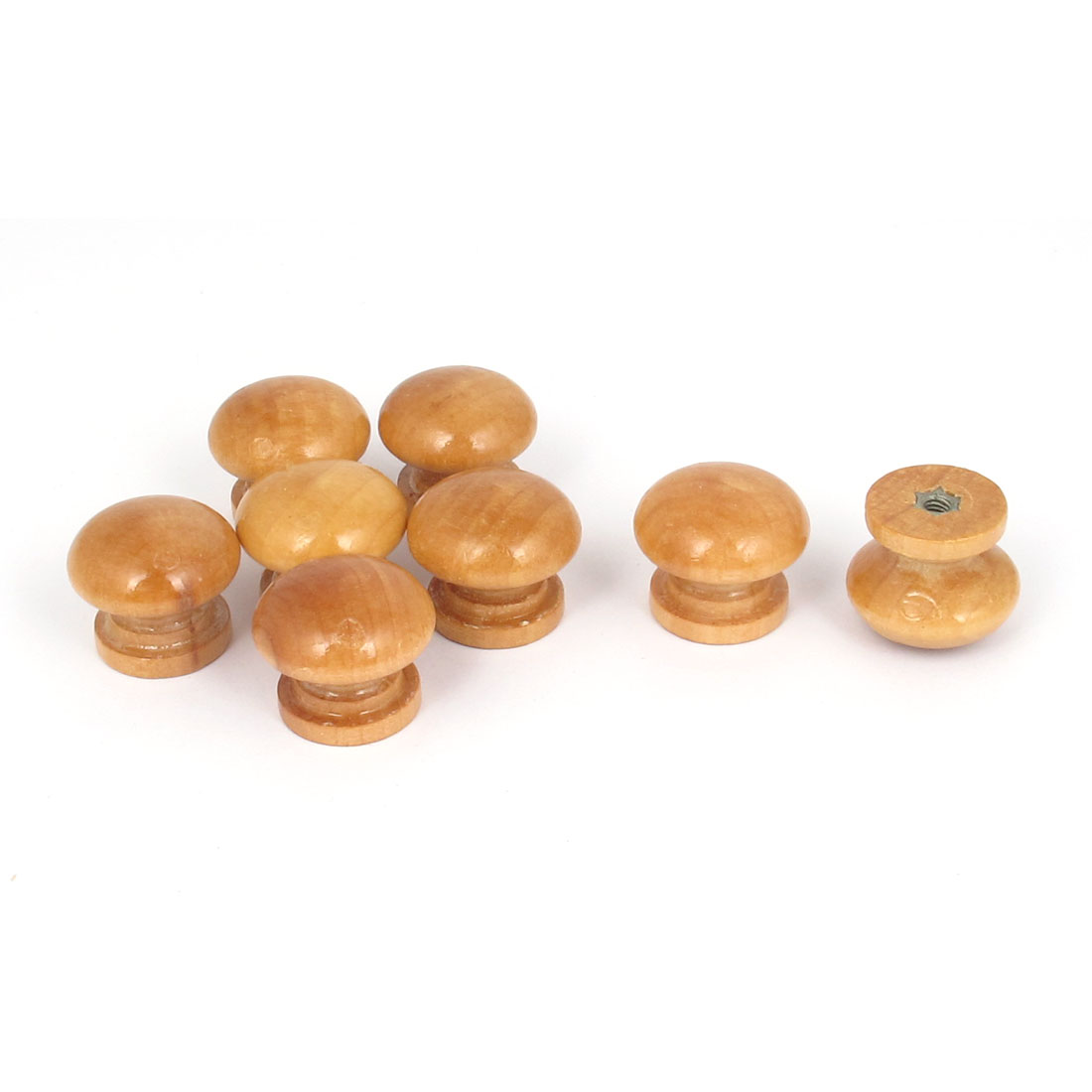 Wooden Round Shaped Home Cabinet Cupboard Drawer Pull Knob Handle Beige 8Pcs