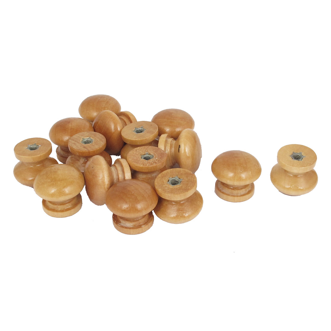 Wooden Round Shaped Home Cabinet Cupboard Drawer Pull Knob Handle Beige 15Pcs