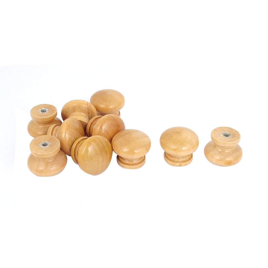 Cabinet Cupboard Dresser Drawer Round Wooden Pull Knob Handle Beige 10Pcs