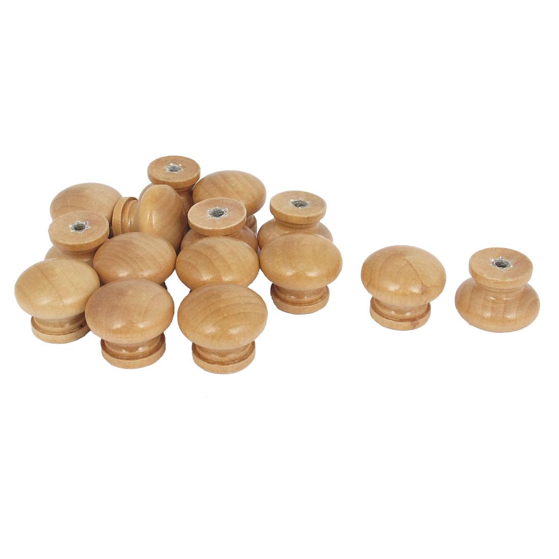 Cabinet Cupboard Dresser Drawer Round Wooden Pull Knob Handle Beige 15Pcs