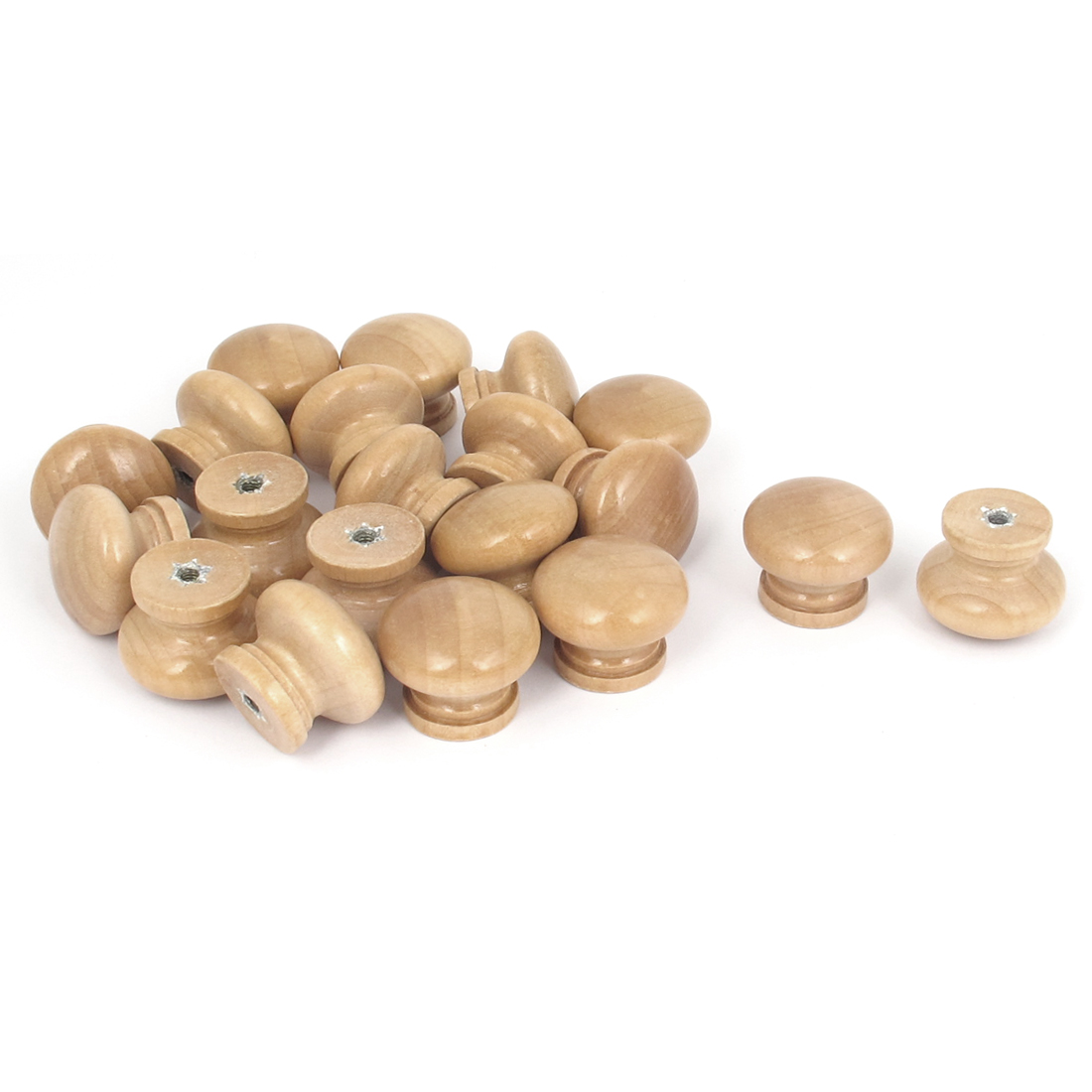 Cabinet Cupboard Dresser Drawer Round Wooden Pull Knob Handle Beige 20Pcs
