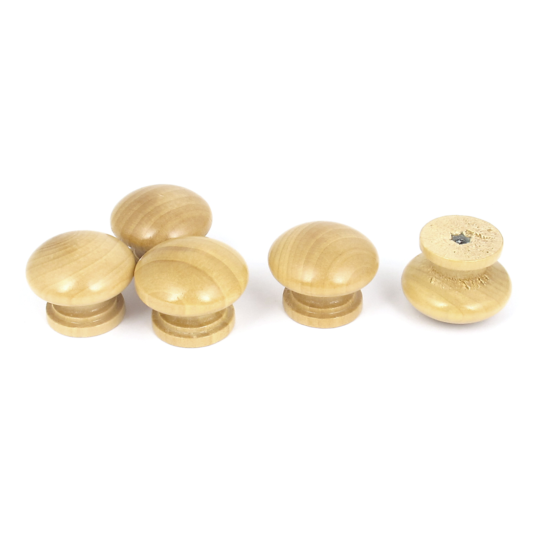 Cabinet Kitchen Cupboard Drawer Round Wooden Pull Knob Handle Beige 5Pcs