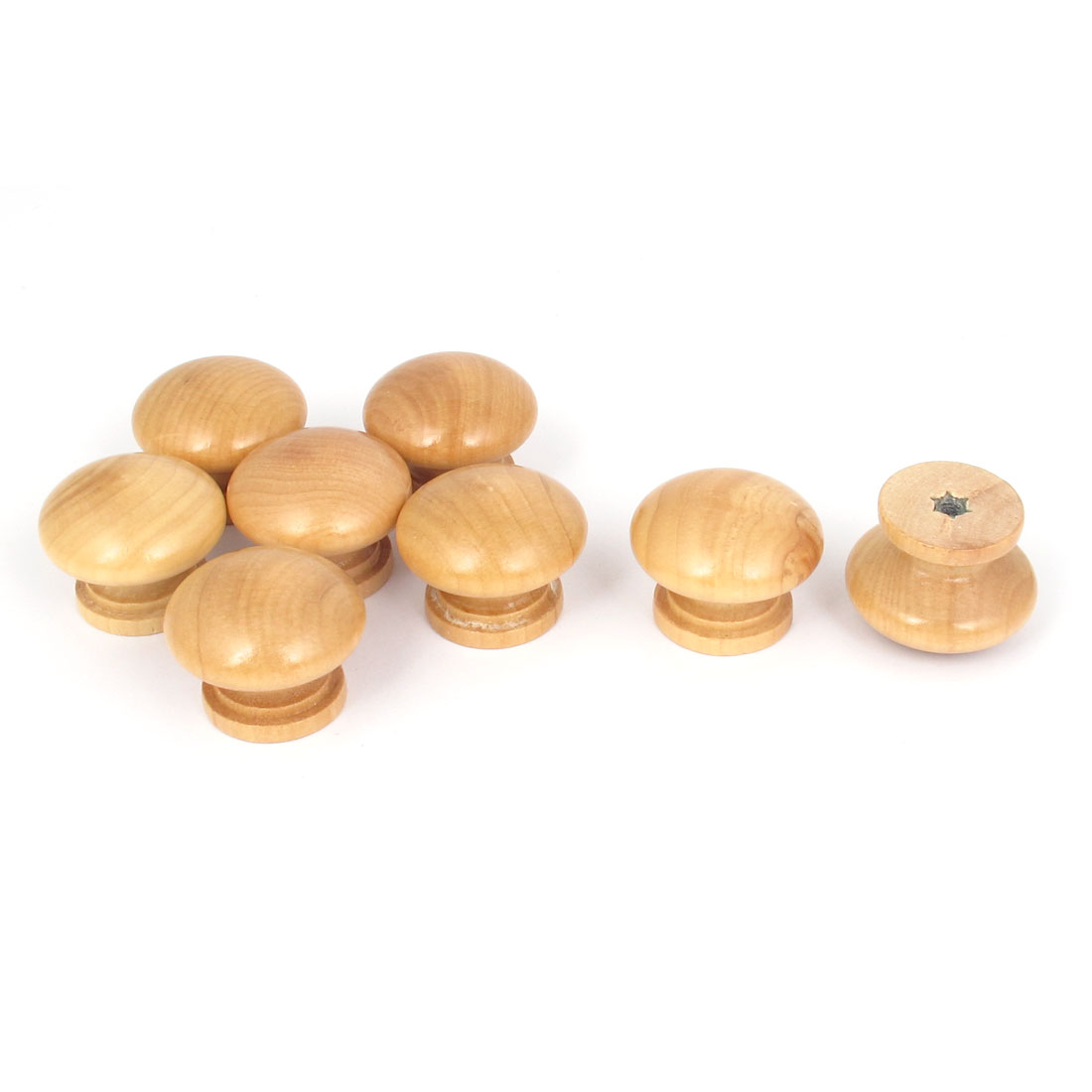 Cabinet Kitchen Cupboard Drawer Round Wooden Pull Knob Handle Beige 8Pcs