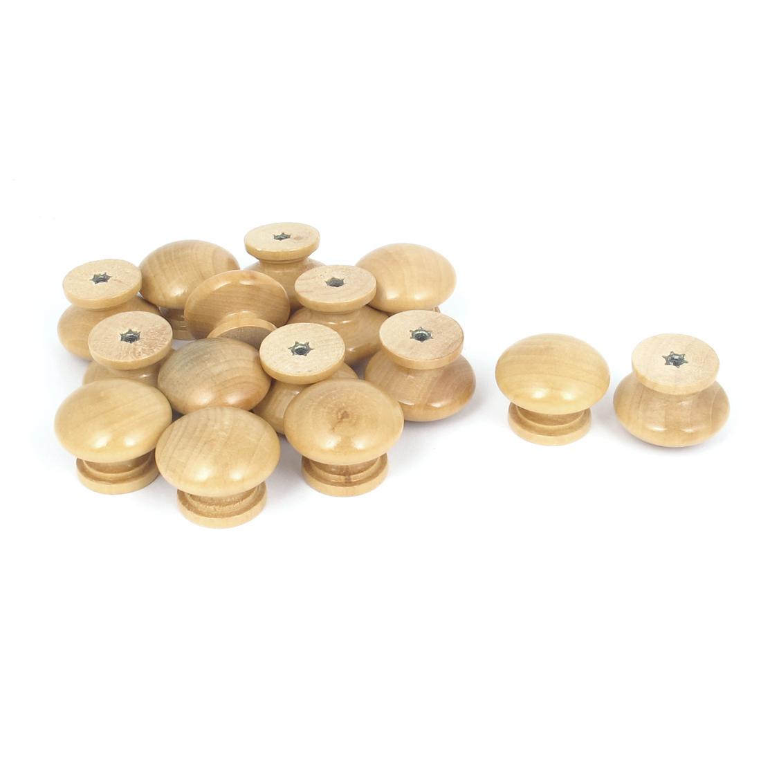 Cabinet Kitchen Cupboard Drawer Round Wooden Pull Knob Handle Beige 15Pcs