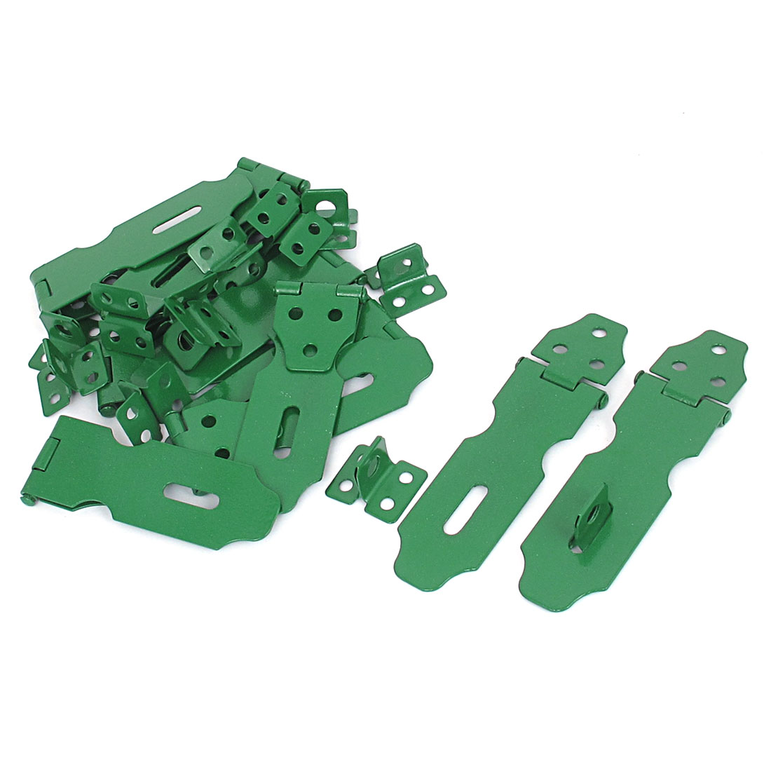 Home Cupboard Cabinets Doors Latch Hasp Staple Set 106mm Long Green 12Pcs