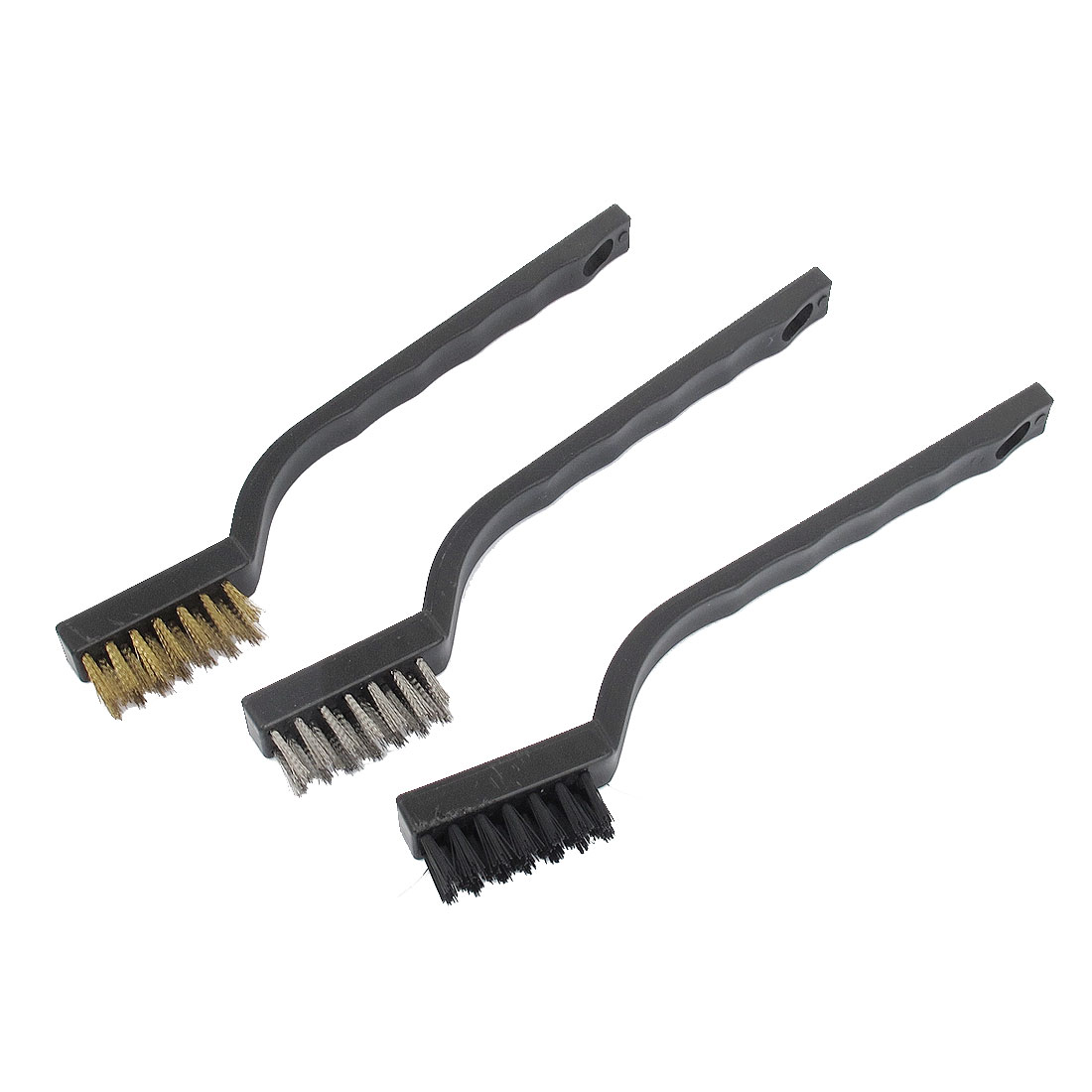 17.5cm Length Plastic Handle Stainless Steel Brass Nylon Wire Cleaning Brush Set 3 Pcs