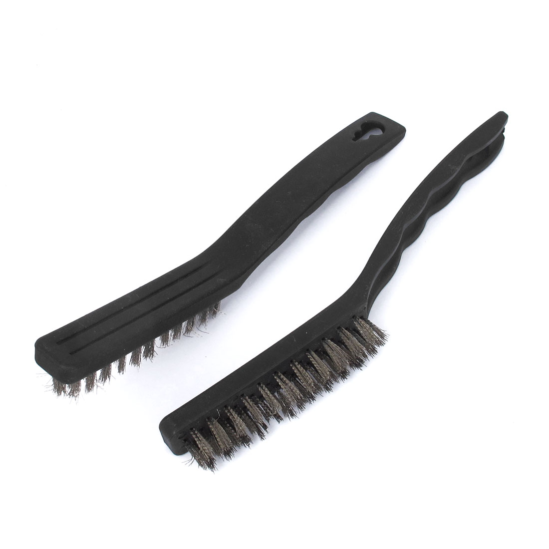 21.5cm Length Handy Tool Plastic Handle Steel Wire Cleaning Brush Black 2 Pcs