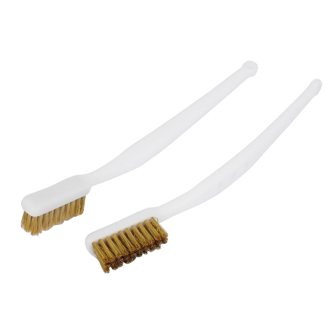 18cm Length Handy Tool Plastic Handle Brass Wire Cleaning Brush White 2 Pcs