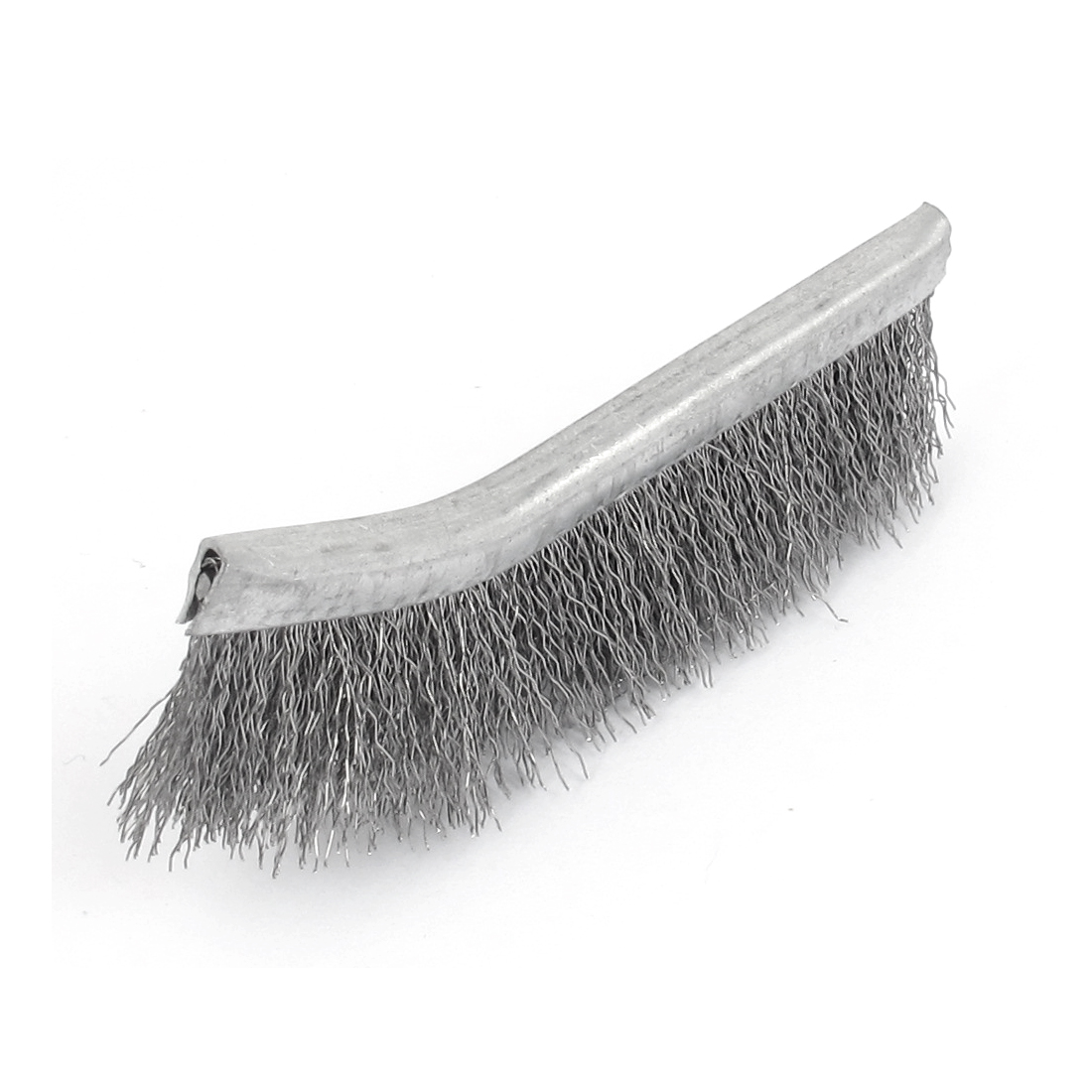 Handy Tool 8.5cm Length Metal Bent Head Steel Wire Cleaning Brush Silver Tone