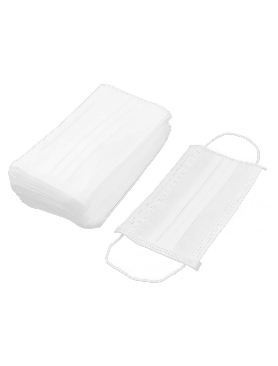 Unisex 3 Layer Disposable Earloop Face Mask White 50 Pcs