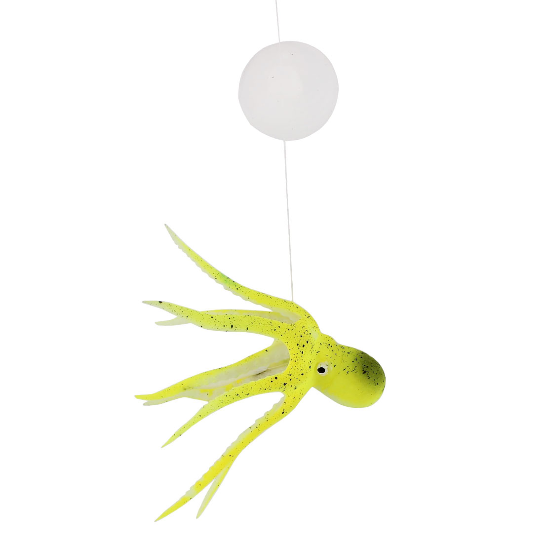 Green Silicone Emulational Aquarium Octopus Ornament w Suction Cup for Fish Tank