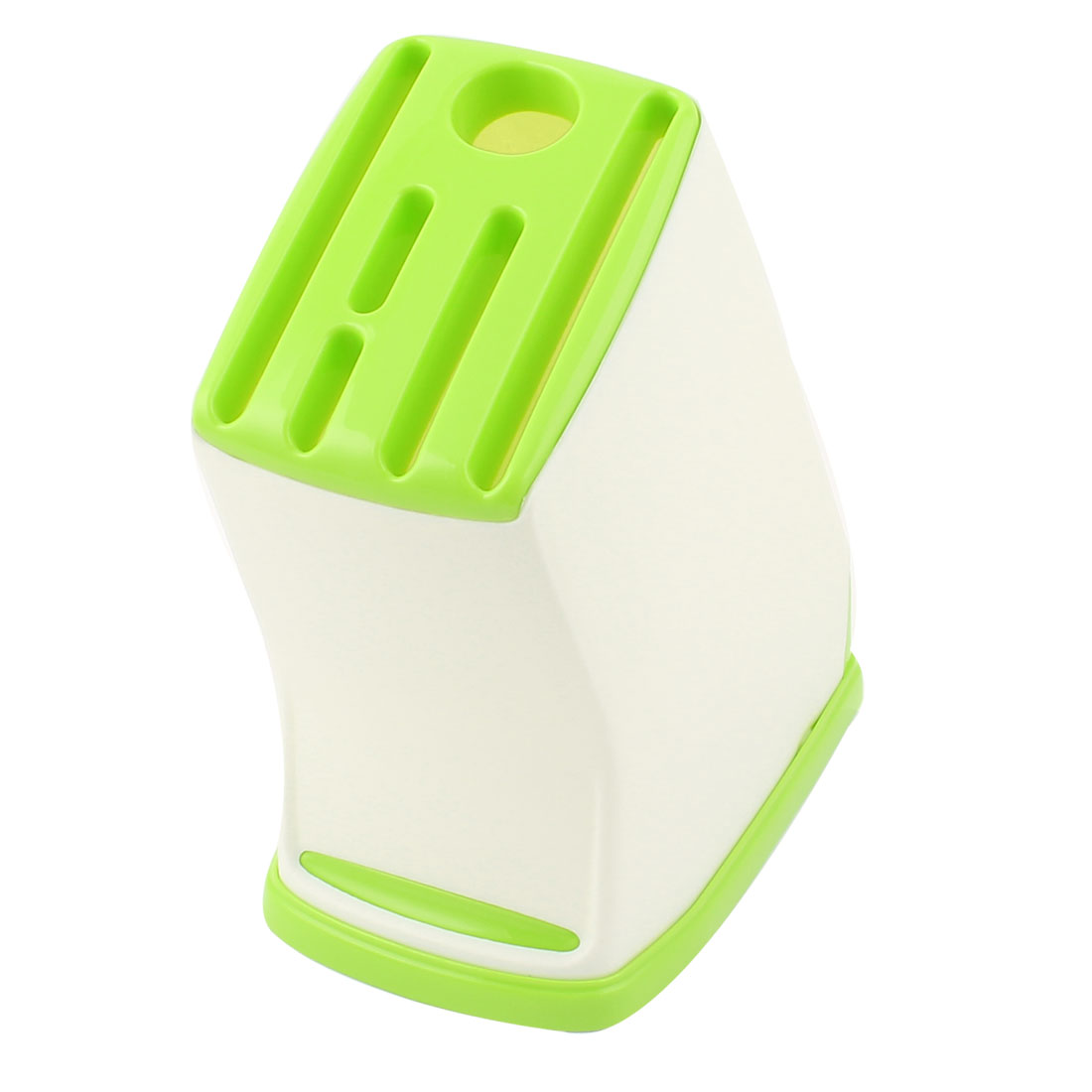 Kitchen Plastic Trapezoidal Shape 6 Slots Cook Chopper Cutter Holder Green White