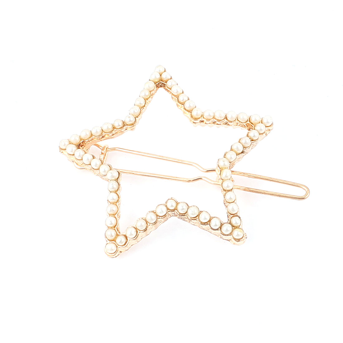 Lady Metal Five-pointed Star Shape Faux Imitation Pearl Inlaid Hair Clip Barrette Gold Tone